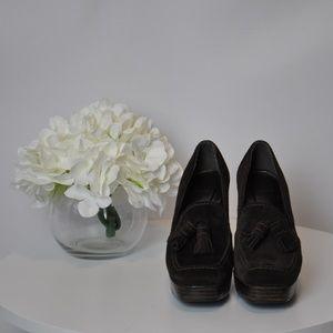 Stuart Weitzman Suede Platform Heel Loafers - 7